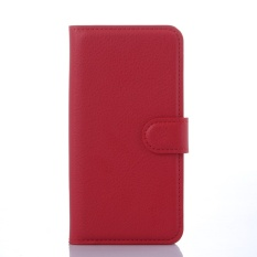 [Ready Stock] Szyhome Ponsel Case S untuk ZTE Blade X3 Mewah Retro Dompet Kulit Flip Cover Case Solid Warna Shell (merah) -Intl