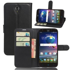 [Ready Stock] Szyhome Ponsel Case S untuk ZTE Grand X3 (5.5) Mewah Retro Dompet Kulit Flip Cover Case Warna Solid Shell (hitam)-Intl