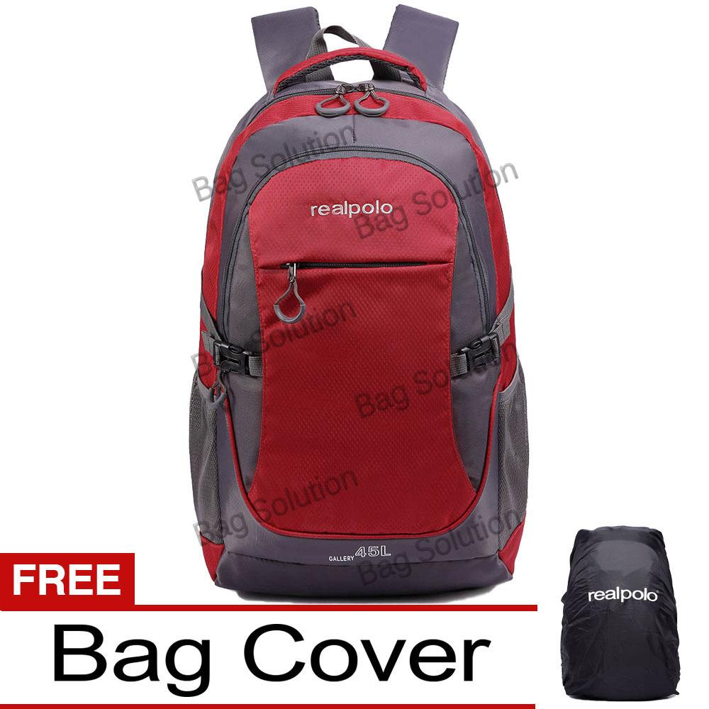 Daftar Harga Real Polo Tas Ransel Kasual Jumbo 6331 Backpack Xl Bonus Bag Cover Merah Real Polo