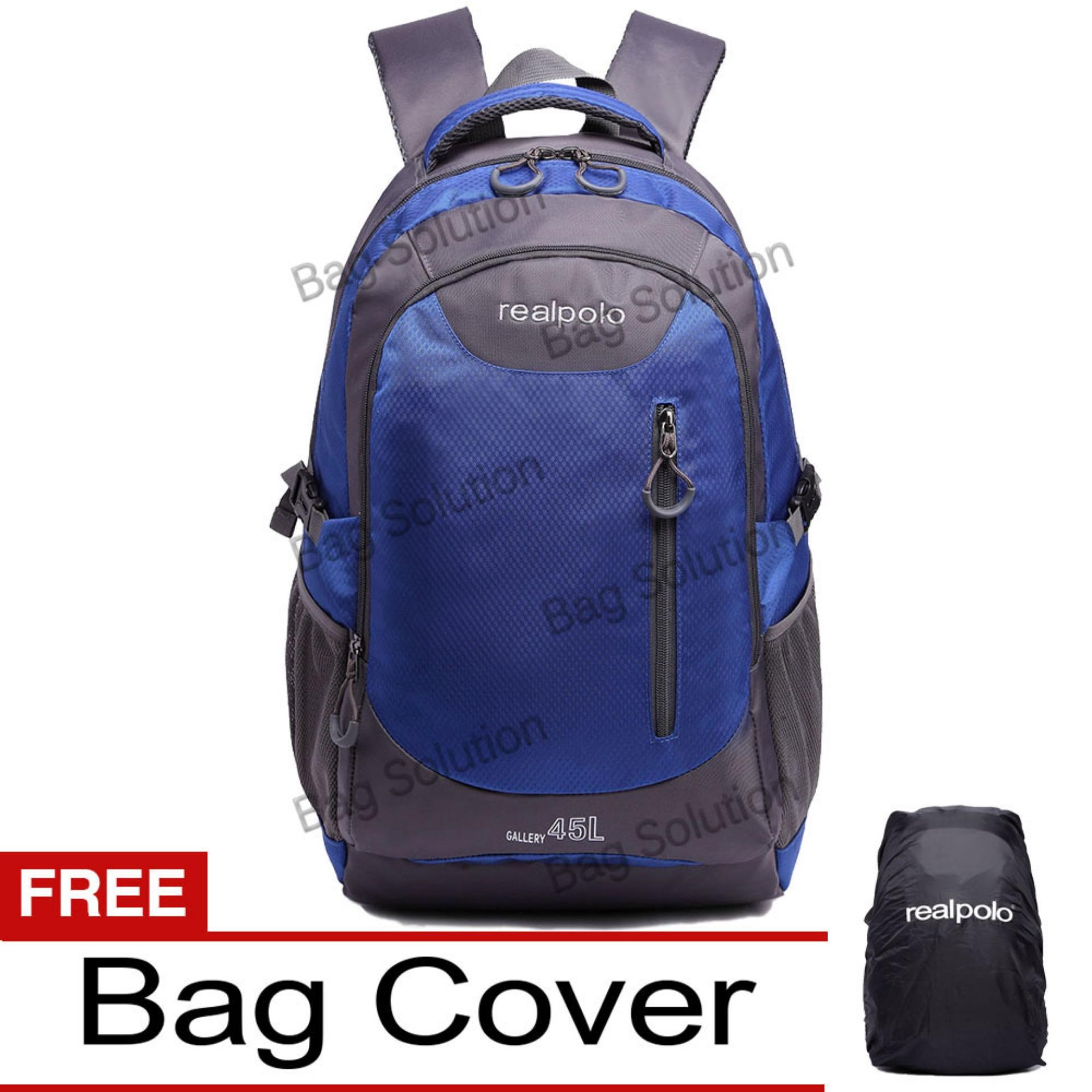 Jual Real Polo Tas Ransel Kasual Jumbo 6333 Backpack Xl Bonus Bag Cover Biru Antik