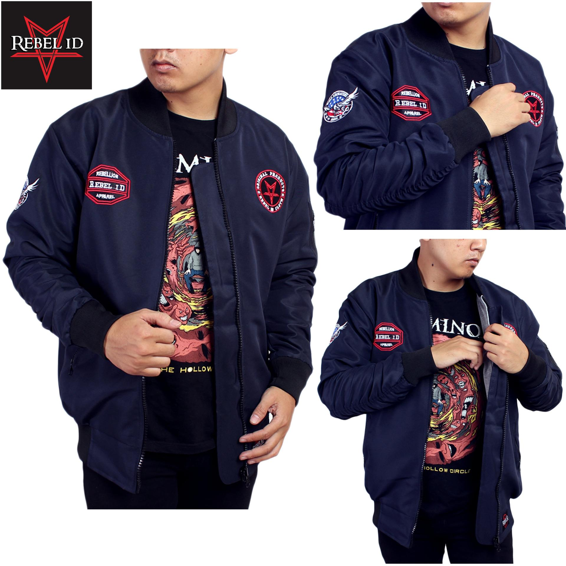Rebel Id Jaket Bomber World Domination Navy Original