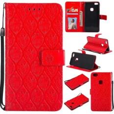 Merah 3D Pereda Bunga Kulit Lipat Case untuk Huawei P10 Lite-Internasional
