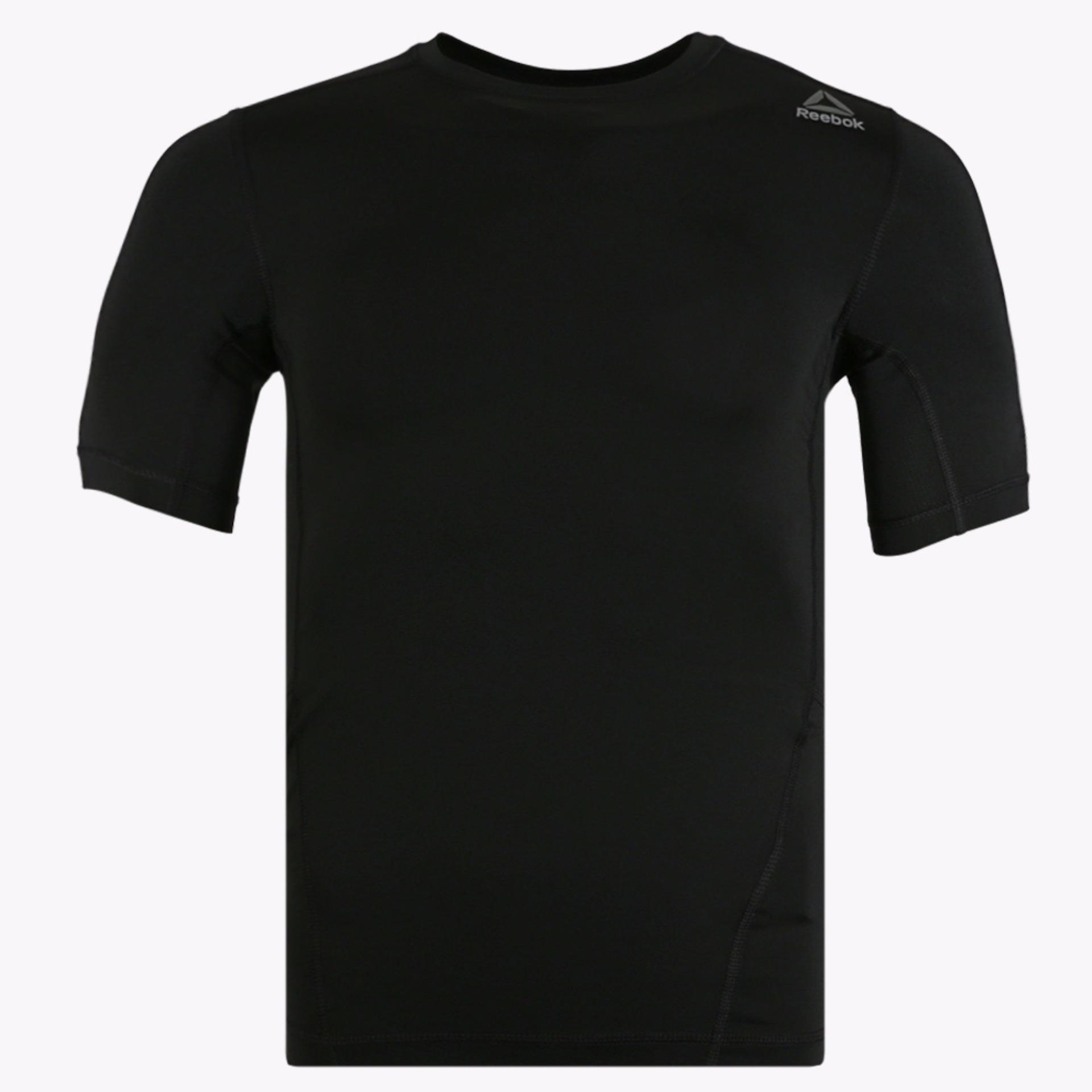 Spesifikasi Reebok Workout Ready Short Sleeve Compression Men S Tee Hitam Yang Bagus