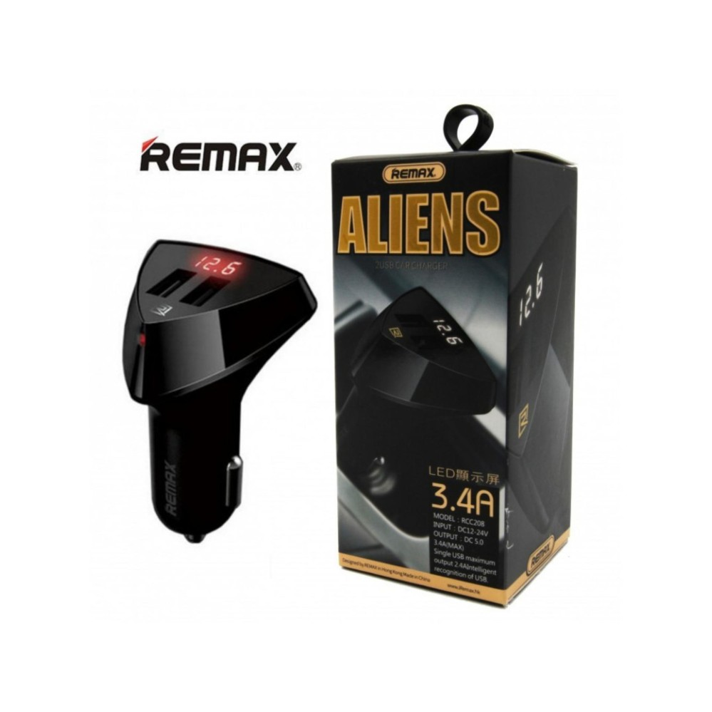 Remax Car Charger With Volt Display 2 Usb 3.4A Aliens Series RC-C208