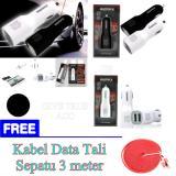 Harga Hemat Remax Dual Usb Car Charger 2 1A 1A Portabel Adaptor Fast Charging Hitam Putih Free Kabel Data Tali Sepatu 3 Meter