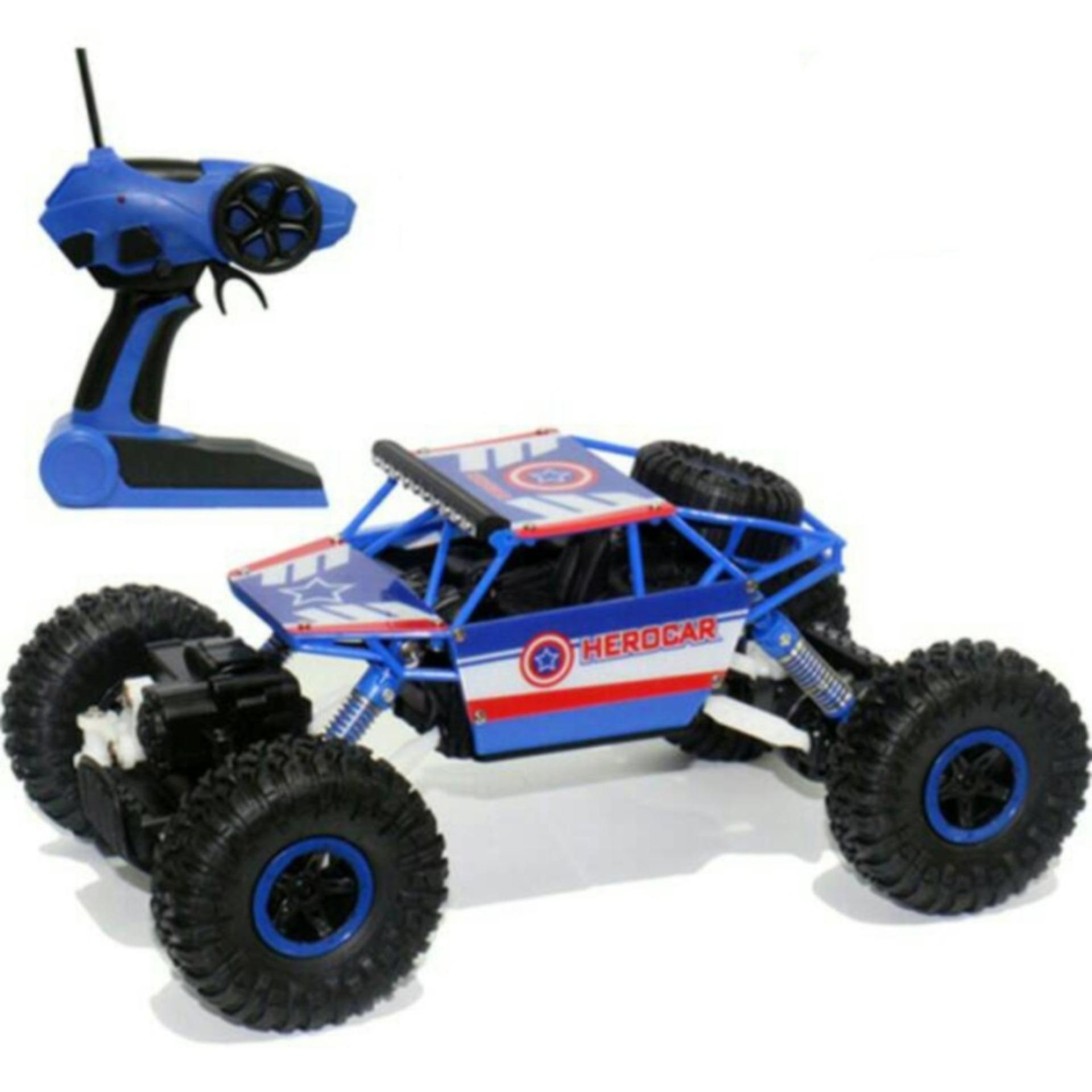 Remote Control Car 4WD Rock Crawler Super Hero Theme Car Off-Road Captain America - Blue