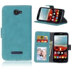 Retro Frosted PU Kulit Flip Case untuk Alcatel One Touch Fierce 2 7040 T (Tidak Sesuai Fierce XL) (biru)-Intl