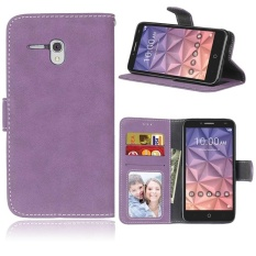 Retro Frosted PU Kulit Flip Case untuk Alcatel One Touch (Ungu)-Intl