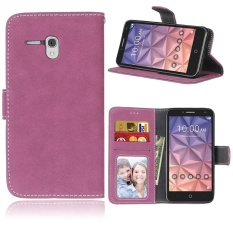 Retro Frosted PU Leather Flip Case for Alcatel One Touch Fierce XL (Rose) - intl