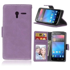 Retro Frosted PU Leather Flip Case for Alcatel One touch Pixi 3 [4.5Inch] (Purple) - intl