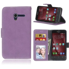 Retro Frosted PU Leather Flip Case for Alcatel One Touch Pop 3 [5.0Inch] (Purple) - intl