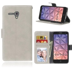 Retro Frosted PU Leather Flip Case for Alcatel One Touch POP 3 [5.5inch] (Grey) - intl