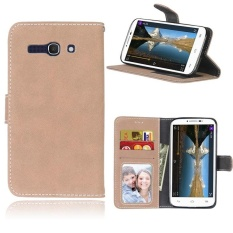 Retro Frosted PU Kulit Flip Case untuk Alcatel One Touch POP C9 (Beige)-Intl