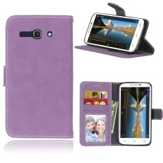 Retro Frosted PU Kulit Flip Case untuk Alcatel One Touch POP C9 (Ungu)-Intl
