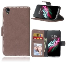 Retro Frosted PU Kulit Flip Case untuk Alcatel OneTouch IDOL 3 [4.7 Inch] (Brown)-Intl