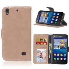 Retro Frosted PU Leather Flip Case for Huawei Ascend G620s (Beige) - intl