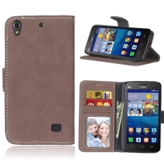 Retro Frosted PU Kulit Flip Case untuk Huawei Ascend G620s (Brown)-Intl