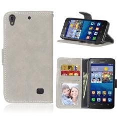 Retro Frosted PU Kulit Flip Case untuk Huawei Ascend G620s (Grey)-Intl
