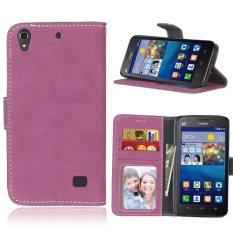 Retro Frosted PU Leather Flip Case for Huawei Ascend G620s (Rose) - intl
