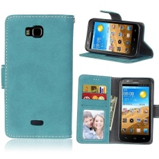 Retro Frosted PU Kulit Flip Case untuk Huawei Honor Bee/Y541 (Biru)-Intl