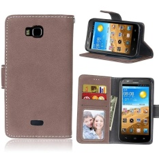 Retro Frosted PU Leather Flip Case for Huawei Honor Bee/Y541 (Brown) - intl