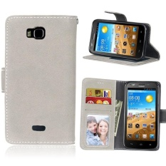 Retro Frosted PU Leather Flip Case for Huawei Honor Bee/Y541 (Grey) - intl