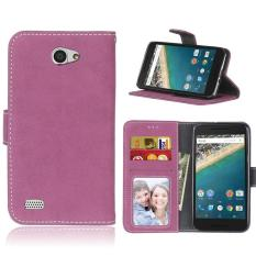 Retro Frosted PU Leather Flip Case for LG Bello 2 / Bello II (Rose) - intl