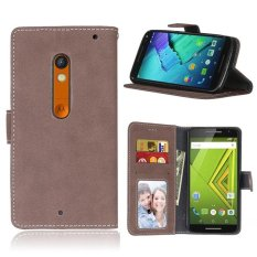Retro Frosted PU Leather Flip Case for Motorola Droid Maxx 2 XT1565 / Moto X PLAY XT1562 (Brown) - intl