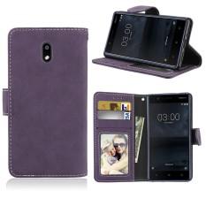 Retro Beku PU Kulit Lipat Magnet Dompet Dudukan Slot Kartu Pelindung Case Sarung untuk Nokia 3 (Hitam) -Internasional