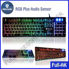 Rexus K9RGB Keyboard Gaming USB with Waving Rainbow Backlight + Audio Mode - Hitam