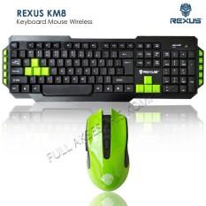 Rexus KM8 Keyboard Mouse Wireless - Hitam/Hijau