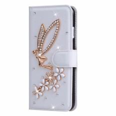 Berlian Buatan Case Sarung Dompet Gaya Penyangga PU Kulit Case untuk Alcatel U5 HD Coque Lipat Sarung 5.0 Inch-Internasional