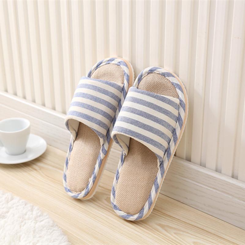 RHS Online Wanita Pria Anti-selip Linen Garis Rumah Dalam Sandal Musim Panas Sepatu Jari Terbuka Lenan-Internasional