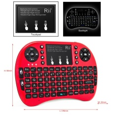 RII Mini I8 + Merah Mini Gaming Keyboard dengan Backlight untuk Gaming Amazon Fire TV Raspberry Pi PC-Intl