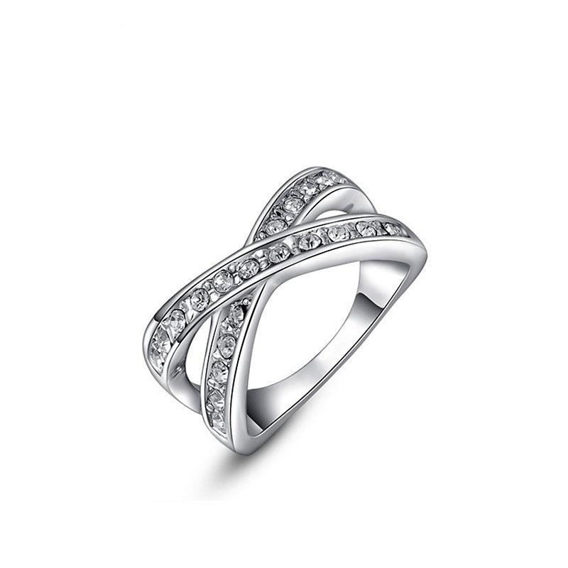 Cincin untuk Wanita Hadiah Natal Buat dengan Kristal Modis Lingkaran Warna Putih Hadiah Pernikahan Pesta Badan Perhiasan-Internasional