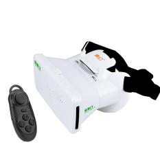 RITECH Riem 3 Virtual Reality 3D VR Kacamata Kepala Dipasang Headset Pribadi Theater untuk 3.5-6 Inches Smartphone dengan Bluetooth Remote Control Putih-Intl