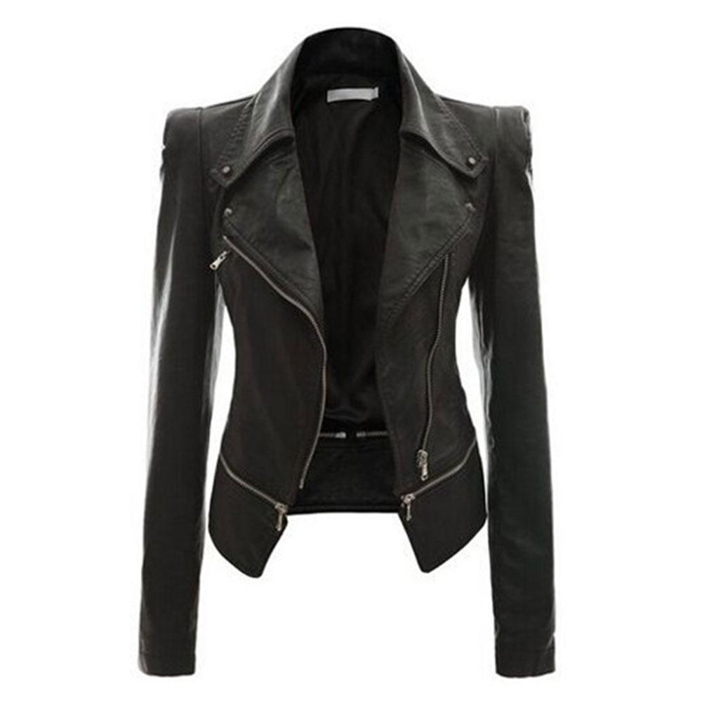 Toko Ritsleting Jaket Plus Ukuran Pendek Motor Biker Lapel Jaket Blazer Mantel Kulit Pu Terdekat