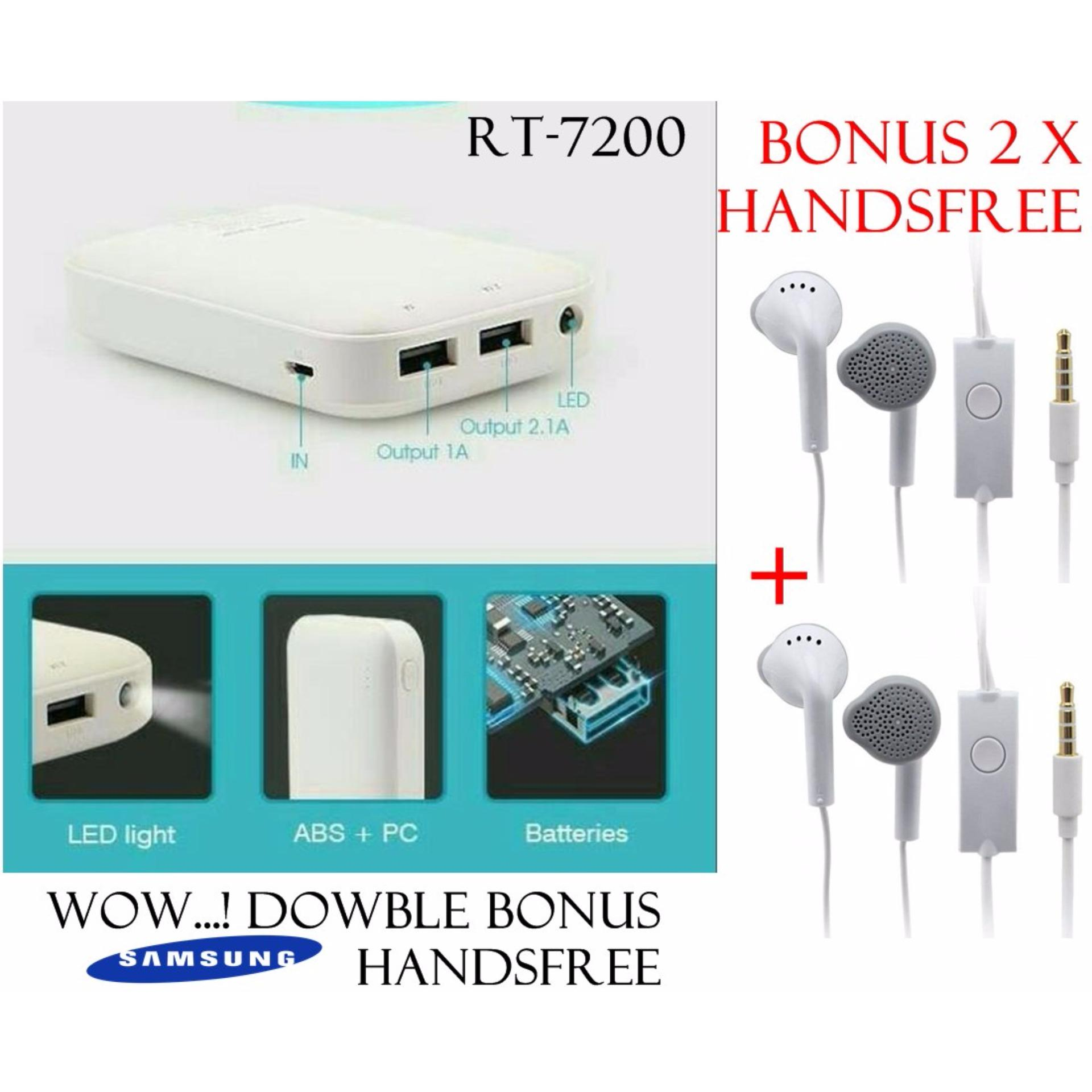Robot By Vivan Power Bank Rt7200 6600Mah 2 Usb Ports For Android Gratis 2 X Handsfree Samsung Asli