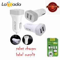 Spesifikasi Robot Car Charger Dual Usb Rt C05 2 1A 1A Putih Robot Tpe600 Cable Set Micro Usb With 3 Type Connector Putih Bagus