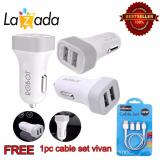 Jual Robot Car Charger Dual Usb Rt C05 2 1A 1A Putih Vivan Data Cables New Cable Set 500Mm White Robot