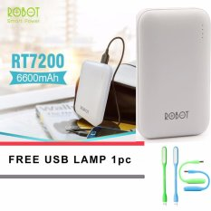 Promo Robot Power Bank Rt7200 6600Mah By Vivan Dual Output Original Putih Free Led Usb Robot