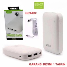 Robot Power Bank RT7200 6600mAh By Vivan Dual Output - Putih