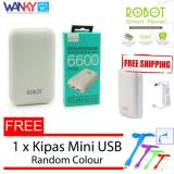 Jual Robot Power Bank Rt7200 6600Mah By Vivan Dual Output Putih Free Kipas Mini Usb Robot Ori