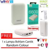 Jual Beli Robot Power Bank Rt7200 6600Mah By Vivan Dual Output Putih Free Lampu Led Bohlam Mini Usb