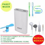 Harga Robot Powerbank Rt7100 6600Mah 1 Tahun Garansi Power Bank Dual Output Usb Led Lamp Mini Fan Usb Otg Portable Kipas Angin Portable Biru Samsung Handsfree Headset Earphone For S6310 5360 Putih Dki Jakarta