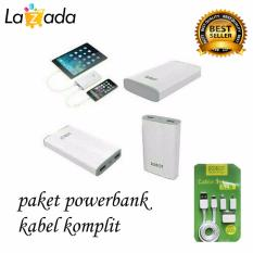 Toko Robot Powerbank Rt7100 6600Mah Power Bank Dual Output Original Robot Tpe600 Cable Set Micro Usb With 3 Type Connector Putih Robot