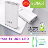 Robot Powerbank Rt7100 6600Mah Power Bank Dual Output Usb Led Murah