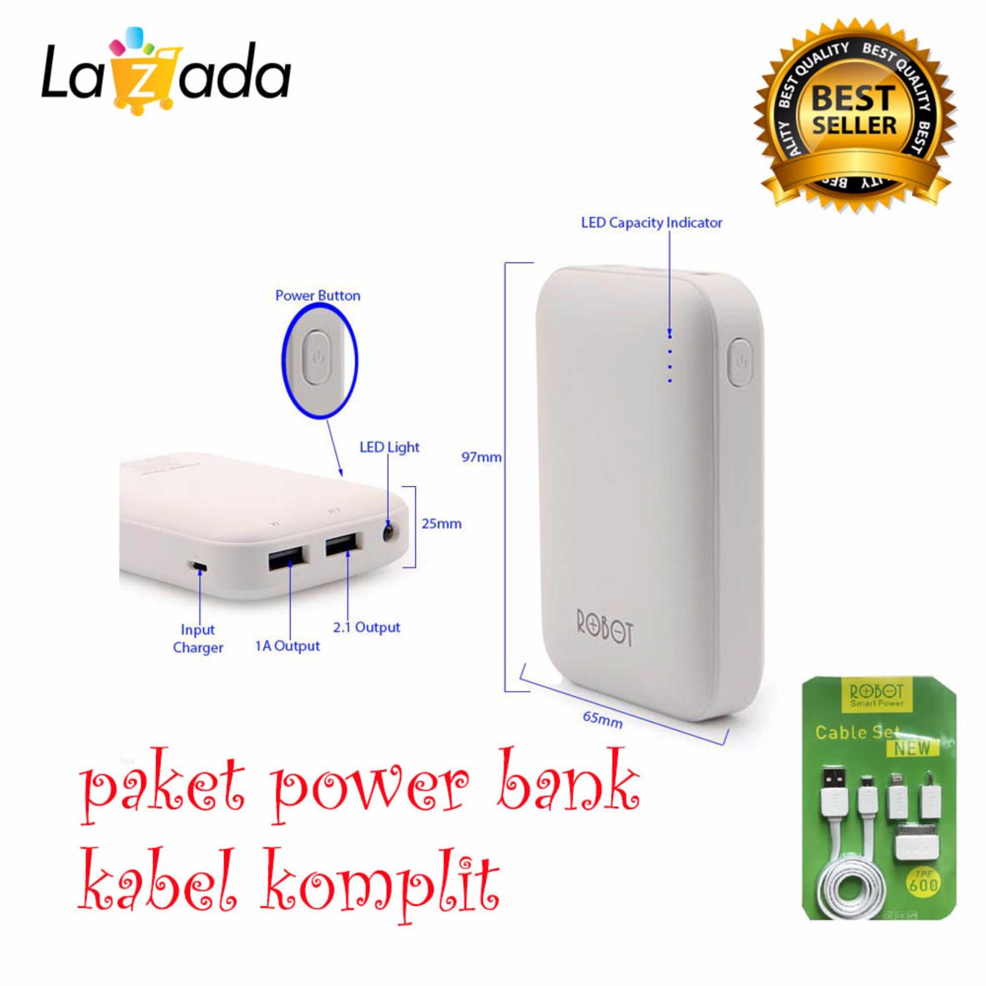 Diskon Robot Powerbank Rt7200 6600Mah Power Bank Dual Output Original Robot Tpe600 Cable Set Micro Usb With 3 Type Connector Putih Branded