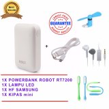 Promo Toko Robot Powerbank Rt7200 6600Mah Power Bank Dual Output Original Usb Led Lamp Mini Fan Usb Otg Portable Kipas Angin Portable Biru Samsung Handsfree Headset Earphone For S6310 5360 Putih