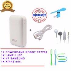 Robot Powerbank RT7200 6600mAh Power Bank Dual Output original + USB LED lamp + Mini Fan USB OTG Portable / Kipas Angin Portable - Biru Samsung Handsfree - Headset - Earphone for S6310/5360 - Putih